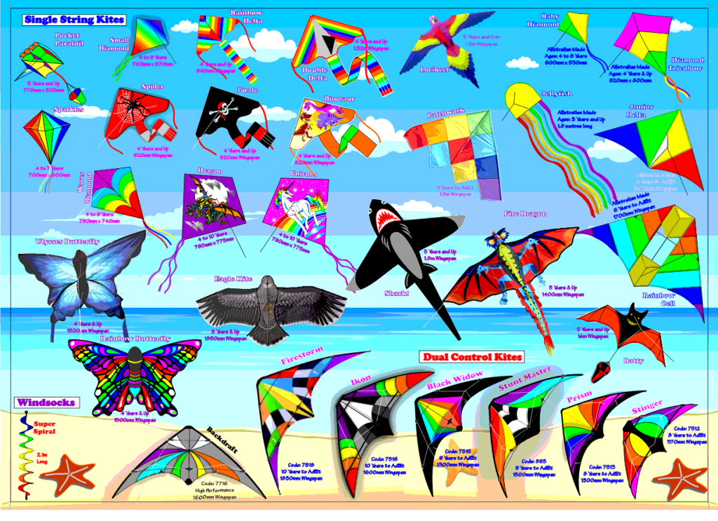 Range of kites from Australian kite supplier Windspeed Kites